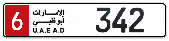 6 342 - Plate numbers for sale in Abu Dhabi