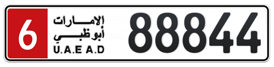 6 88844 - Plate numbers for sale in Abu Dhabi