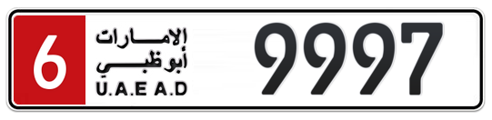 6 9997 - Plate numbers for sale in Abu Dhabi