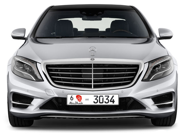 Abu Dhabi Plate number 6 3034 for sale - Long layout, Dubai logo, Full view