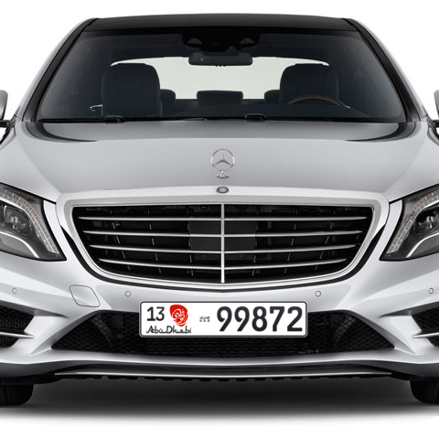 Abu Dhabi Plate number 13 99872 for sale - Long layout, Dubai logo, Сlose view