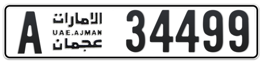 Ajman Plate number A 34499 for sale on Numbers.ae
