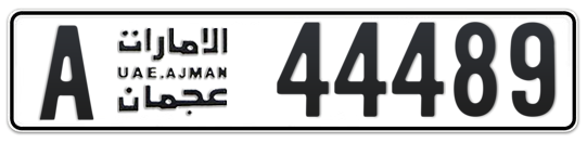 Ajman Plate number A 44489 for sale on Numbers.ae