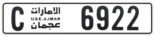 C 6922 - Plate numbers for sale in Ajman