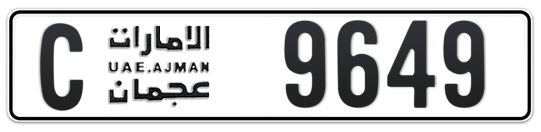 C 9649 - Plate numbers for sale in Ajman