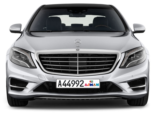 Ajman Plate number A 44992 for sale - Long layout, Dubai logo, Full view