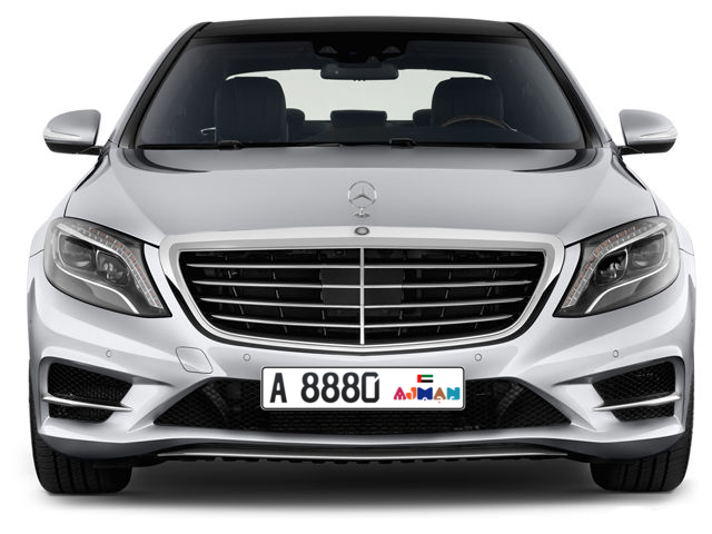 Ajman Plate number A 8880 for sale - Long layout, Dubai logo, Full view