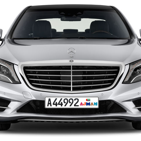 Ajman Plate number A 44992 for sale - Long layout, Dubai logo, Сlose view