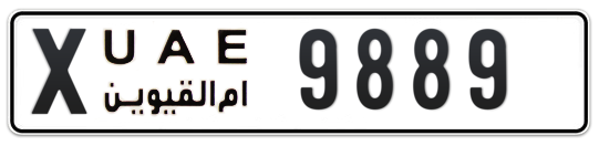 X 9889 - Plate numbers for sale in Umm Al Quwain