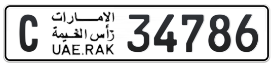 C 34786 - Plate numbers for sale in Ras Al Khaimah